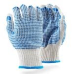 7gg 750gpd. BLUE Cotton Blend crochet with BLUE PVC double dotted gloves MOQ 120
