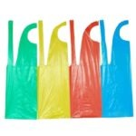 PLASTIC APRONS 25 MICRONS TIE-BACK PER PACK OF 100 83cm (L) and 63cm (W)  WHITE MOQ 10