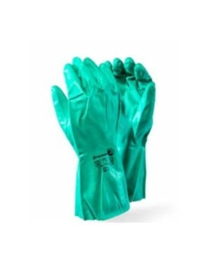 GREEN NITRILE EN APPROVED CATEGORY III – INDUSTRIAL CHEMICAL GLOVES MOQ 12