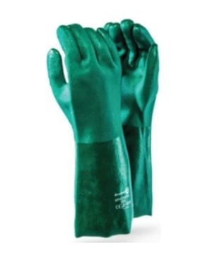 DROMEX HEAVY DUTY TEXTURED GREEN PVC COATED GLOVES Elbow 40cm MOQ 12