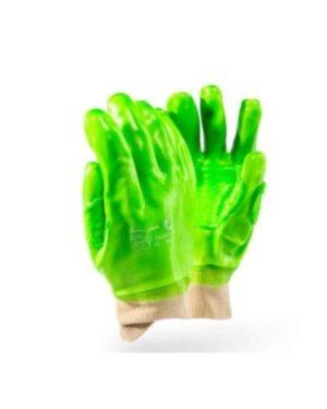 DROMEX CRONUS HI-VIS LIME GREEN PVC GLOVES WITH REINFORCING WRIST MOQ 12