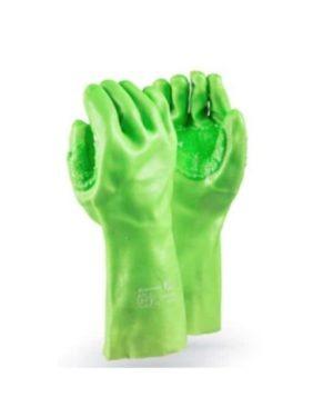 DROMEX CRONUS HI-VIS LIME GREEN PVC GLOVES WITH REINFORCING ELBOW MOQ 12