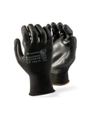 DROMEX INSPECTOR SEAMLESS BLACK MAX INSPECTORS GLOVES – PU PALM COATED MOQ 12