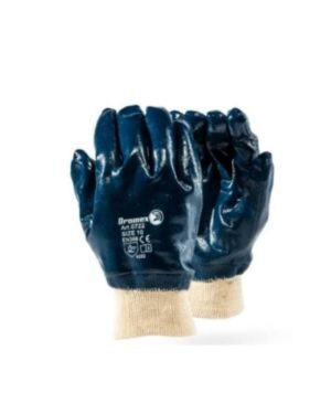 BLUE NITRILE COATED KNITTED WRIST GLOVES – HEAVY DUTY DURABILITY – SMOOTH FINISH MOQ 12