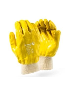 YELLOW NITRILE COATED KNITTED WRIST GLOVES – DURABLE & DEXTERITY & ROUGH FINISH MOQ 12