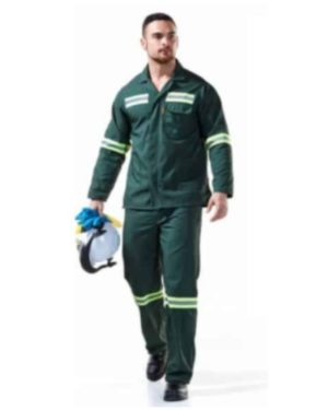 POLY-VISCOSE BOTTLE GREEN ACID RESISTANT CONTI SUITS WITH REFLECTIVE – SANS434 & ISO6530 MOQ 20
