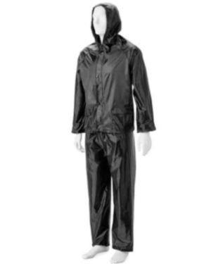 Black Rubberized Rain Suits, Hood, Zip &  Storm Flap  Small To 4Xl Moq 20