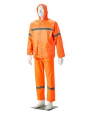 ORANGE REFLECTIVE RUBBERIZED RAIN SUITS, HOOD, ZIP & STORM FLAP Small to 4XL MOQ 20