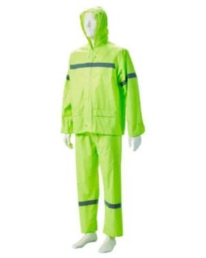 LIME GREEN REFLECTIVE RUBBERIZED RAIN SUITS, HOOD, ZIP & STORM FLAP Small to 4XL MOQ 20