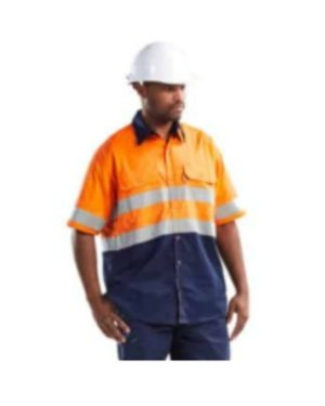100% COTTON HI-VISIBILITY VENTILATED TWO TONE SHORT SLEEVE SHIRTS – ORANGE / NAVY BLUE OR YELLOW/NAVY MOQ 10