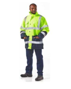 Dromex Two Tone Waterproof Hi Viz Thermal Jackets, Lime/ Navy Blue Moq 1