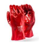 STANDARD WEIGHT RED PVC COATED GLOVES, INTERLOCK LINED Standard PVC, Open Cuff Wrist Length MOQ 12