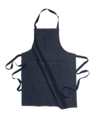 BLUE INDIGO DENIM APRON, KNEE LENGTH