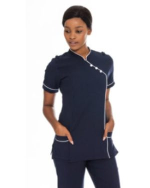 BL3049 – NURSES CHINESE COLLAR PIPED BLOUSE + 2 POCKETS