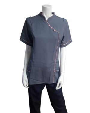 BL3049- TUNIC WITH CHINESE COLLAR AND POCKETS