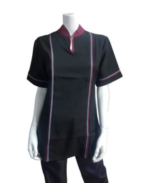 N2061 – Contrast Blouse Short Sleeve With Neck Detail