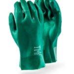 HEAVY DUTY GREEN PVC GLOVES 27CM