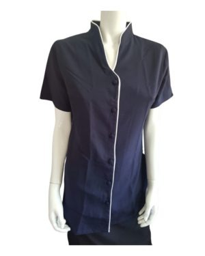N2027 TUNIC WITH CONTRAST & POCKETS WITH FRONT BUTTONS
